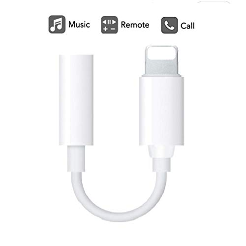 - 3.5mm Headphone Jack Adapter [Updated Version] Connector for iPhone Xs/Xs Max/XR/iPhone 8/8 Plus/X (10) / 7/7 Plus, iPad and More, Music Control & Calling Function Supported - White