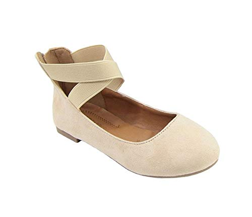 ANNA Girls' Dress Ballet Flat Elastic Strap Beige_20 13 M US