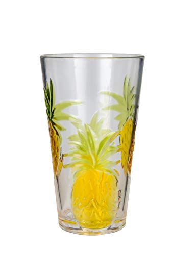 Plastic Drinking Glasses Set of 1 BPA-free Pineapple Pattern 21 Ounce By AYT