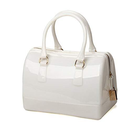 Beach Pink Bag Jelly Light Handbag Silicone White Bag Clutch qZPpHtwA