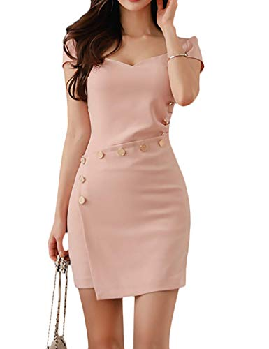 SEBOWEL Women's Casual Work Short Sleeve Bodycon Cocktail Party Pencil Mini Dress Pink S