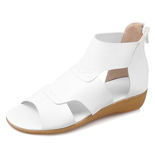 Easemax Womens Trendy Cut Out Stitching Open Toe High Top Zipper Low Wedge Heel Sandals White up5nDko3b
