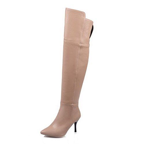 AllhqFashion Damen Weiches Material Spitz Zehe Rein Hoch-Spitze Hoher Absatz Stiefel Cremefarben