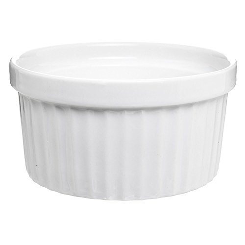 (Set of 6) 4.5 oz. Porcelain Ramekins, White, Bakeware, Souffle Dishes, Creme Brulee, Pudding, Custard Cups, Desserts, by K Basix by K Basix (Image #5)