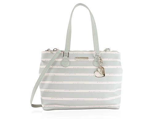 Betsey Johnson Triple Compartment Satchel Tote Bag - Grey ()