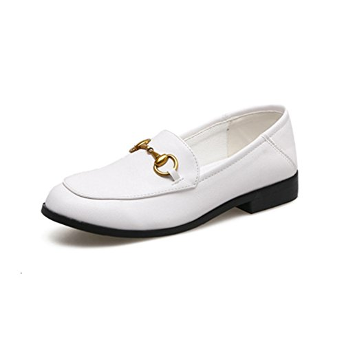 GIY Womens Business Square Toe Penny Loafers Comfort Slip-On Buckle Classic Casual Loafer Dress Shoes White