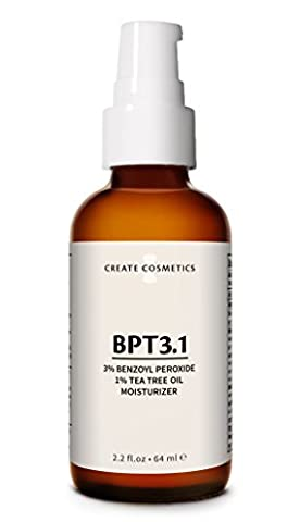 Acne Treatment 3% Benzoyl Peroxide and Tea Tree Oil for Cystic Acne Vulgaris, Adult and Teen Acne. Blemish and Spot Treatment Medication by Create Cosmetics - BPT3.1 - 2.2. (Benzoyl Peroxide Face)