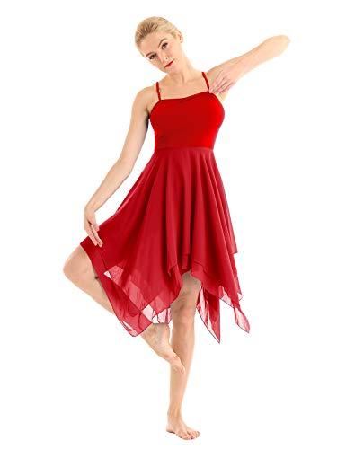 (ACSUSS Women's Chiffon Spaghetti Strap Asymmetric Lyrical Dance Swing Party Dress Red Small)