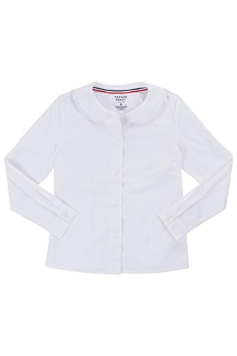 4e4ca045183689 French Toast Long Sleeve Peter Pan Blouse With Lace Trim Collar (Feminine  Fit) Girls