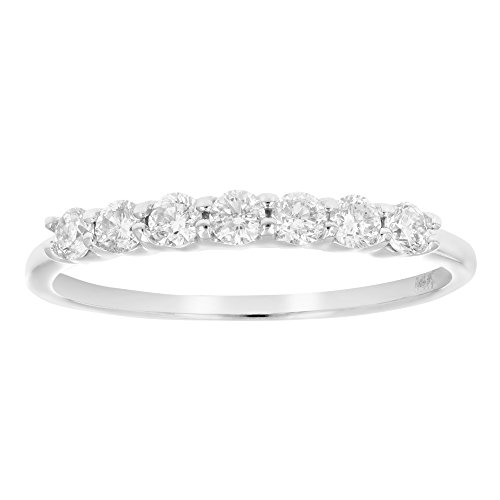 AGS Certified I1-I2 1/2 ctw 7 Stone Diamond Wedding Band 14K White Gold Size 6