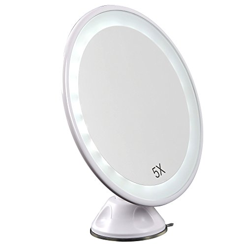 Lighted Makeup Mirror, JVSURF LED Makeup Mirror 24 LEDs 5X Magnifying Vanity Mirror with Suction Cup and Adjustable Arm for Personal Use - White