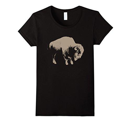 Womens American Buffalo T-Shirt Small Black (Buffalo Kids T-shirt)