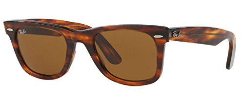 Ray-Ban RB2140 Wayfarer Sunglasses (50mm Tortoise Frame Solid Brown B15 Lens, 50mm Tortoise Frame Solid Brown B15 - Rb2140 54