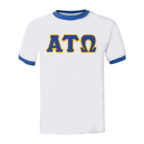 - Express Design Group Alpha Tau Omega Lettered Ringer Shirt Large White w/Royal Trim