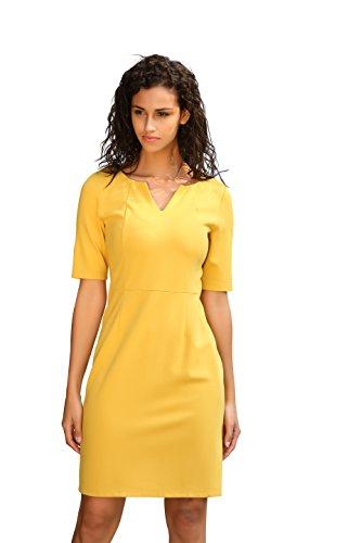 Deviz Queen Women's Office Dress Wear to Work Yellow V-neck Knee-length Short Sleeve