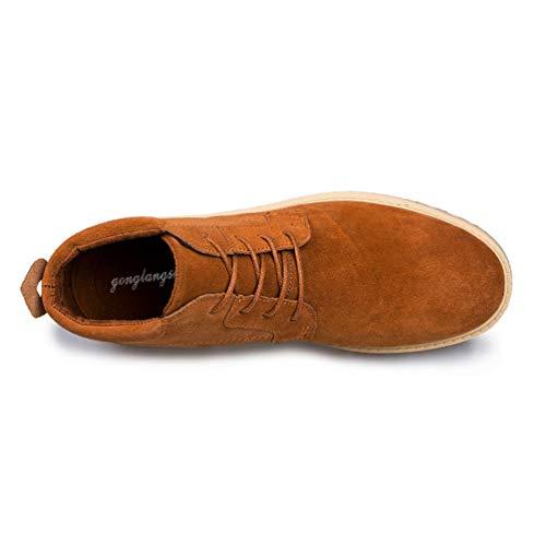 Uomini Inverno Casual Stivali Formatori Flats Sneakers in Neve Pelle Top Marrone Scarpe Business Caviglia Alto BB4Cwzxqr