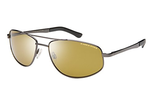 Eagle Eyes Redtail Aviator Sunglasses - Gunmetal Stainless Rims and Polarized - Eyes Sunglasses Eagle