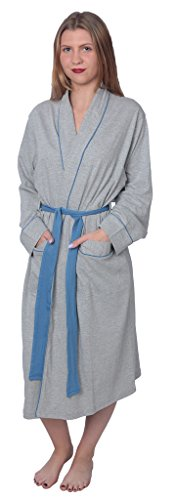 Women's Soft Jersey Knit Cotton Blend Wrap Robe Sleepwear with Piping Finish Y18_WJR01 Heather ()