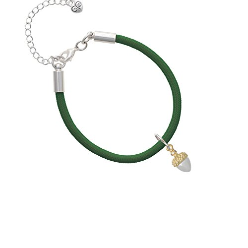 Small Acorn with Gold Tone Top and Crystals Kelly Green Malibu Paracord Bracelet ()