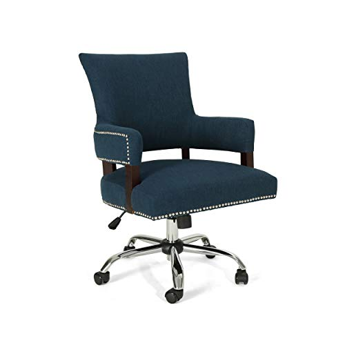 Christopher Knight Home 306419 Mayy Home Office Chair, Navy Blue + Chrome