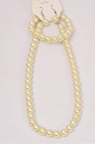 Necklace Sets 3 pcs 10 mm Glass Pearls 18 Inch Cream Pearl 20 Dozen ()