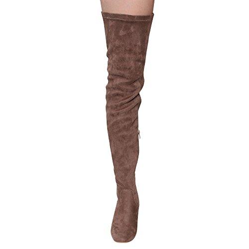 Alva Anna Landon Frauen Oberschenkel Hohe Stiefel Stretchy Snug Fit Chunky Blockabsatz Overknee-Schuhe Taupe