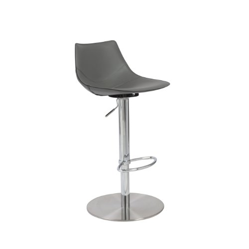 Eurø Style Rudy Adjustable Bar-to-Counter Height Stool, Gray Leatherette with Stainless Steel Column and (Bar Stool Soft)