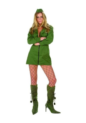 RG Sexy Naughty Top Gun Fighter Pilot Halloween Costume Green Dress Adult XXL Green (Gunfighter Halloween Costume)