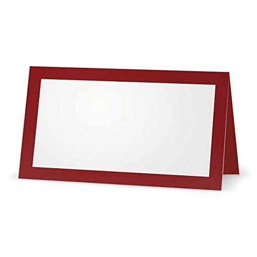 Burgundy Place Cards - Flat or Tent Style - 10 or 50 Pack - White Blank Front Solid Border - Placement Table Name Dinner Seat - Stationery Party Supplies - Any Occasion Event Holiday (10, Tent Style) -
