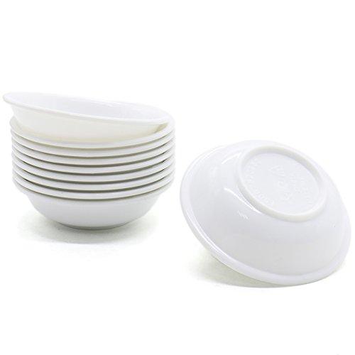 MAISHO Pack of 10,Melamine Plastic White Soy Sauce Dish