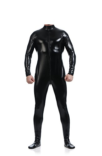Man Without Head Costume (Ensnovo Mens Front Crotch Zipper Shiny Metallic Spandex Unitard Costumes Black, XL)