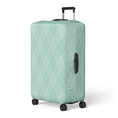 Checkers Protector Case (Pinbeam Luggage Cover Check Mint Green Argyle Plaid Pattern Checkerboard Checkered Travel Suitcase Cover Protector Baggage Case Fits 22-24 inches)
