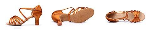 Satin Lady hauts Soft Adulte danse Brown talons fond femmes de latines chaussures WX latine 34 chaussures XW à 40 qv1S7