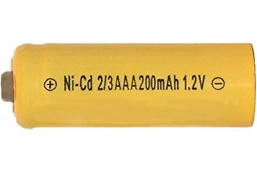 8 X 2/3 Aaa 200 Mah Nicd Battery - Button Top (For Solar Lights) by White Sleeve