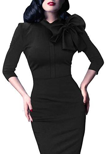 Bodycon 4 Neck Fit Black Womens Solid Bow Alion 3 Slim Sleeve Tie Dress fwvqHRS6
