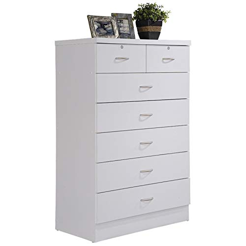(Pemberly Row Tall 7 Drawer Chest with 2 Locking Drawers in White)