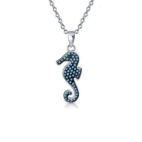 Nautical Beach Blue Beaded Nano Spinel Turquoise Seahorse Pendant Necklace For Women 925 Sterling Silver With Chain