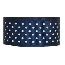 Grosgrain Ribbon Swiss Dots 7/8 Inch 20 Yards Navy