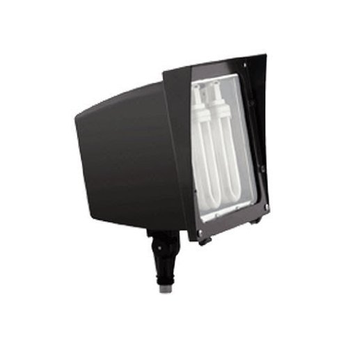 RAB Lighting EZF42QT/PC Versatile Compact Fluorescent Floodlight with Hinged Lens Frame, Triple Type, Aluminum, 42W Power, 3200 Lumens, 120V Button Photocell, Bronze Color