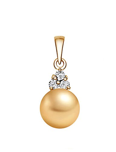 8-9mm Golden South Sea Cultured Pearl Pendant AAAA Quality 14K Yellow Gold with Diamonds