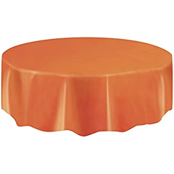 Orange Plastic Table Cover Round