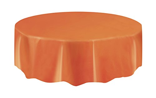 Orange Plastic Table Cover (Halloween Table Covers)