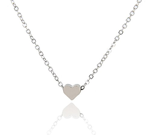 StylesILove Valentine's Day Tiny Heart Clavicle Chain Women's Necklace in Original Gift Bag (Silver) (Heart Tiny Chain)