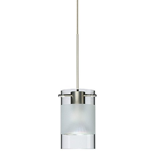 Besa Lighting 1XC-6524EC-SN Scope Pendant with Clear/Frost Glass, Satin Nickel Finish by Besa