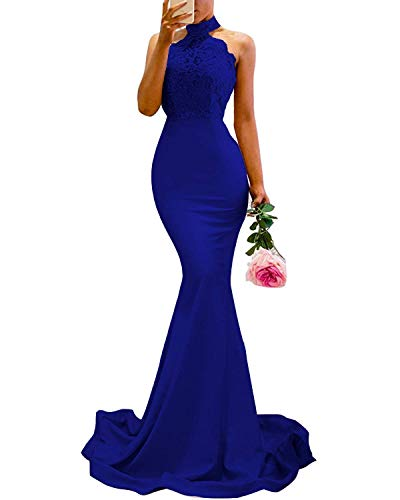 - Sulidi Women's Mermaid Prom Bridesmaid Dresses Lace Halter Wedding Party Evening Gowns Royal Blue Size 12