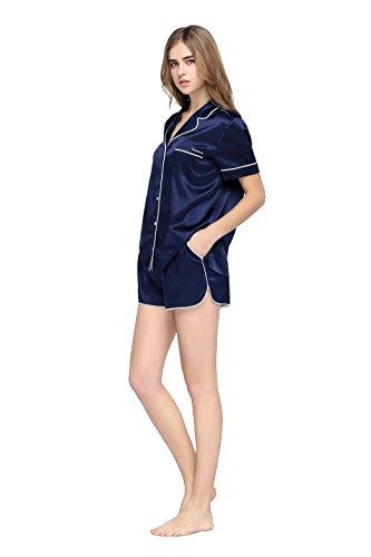 pinco-von-womens-silk-sleepwear-short-sleeve-button-down-silk-pajama-set-gift-box-m-navy-blue