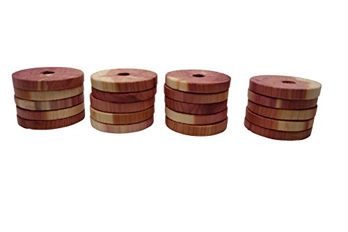 Aromatic Red Cedar - Cedar America Natural Aromatic Cedar Wood Hanger Rings, 1-Pack (20 Rings)