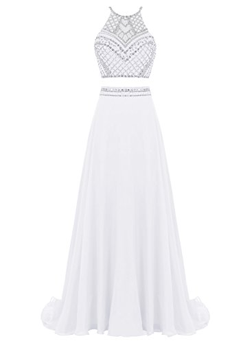 Bbonlinedress Mujer Vestido Dos Piezas Halter Gasa Con Cuentas Para Fiesta Ceremonia Blanco