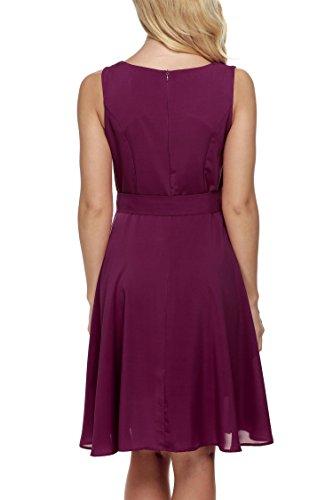 de Mangas Gasa Rojo Púrpura Vestidos y Zeagoo Fiesta sin para Mujer de pwEaqAtc