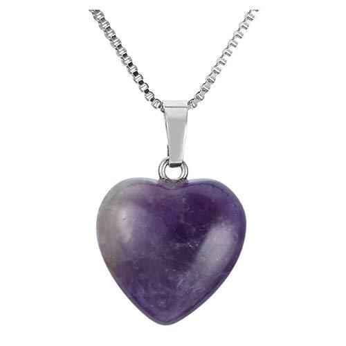 Jovivi Silver Heart Shaped Natural Amethyst Pendant Healing Crystal Chakra Reiki Love Charm Gemstone Necklace